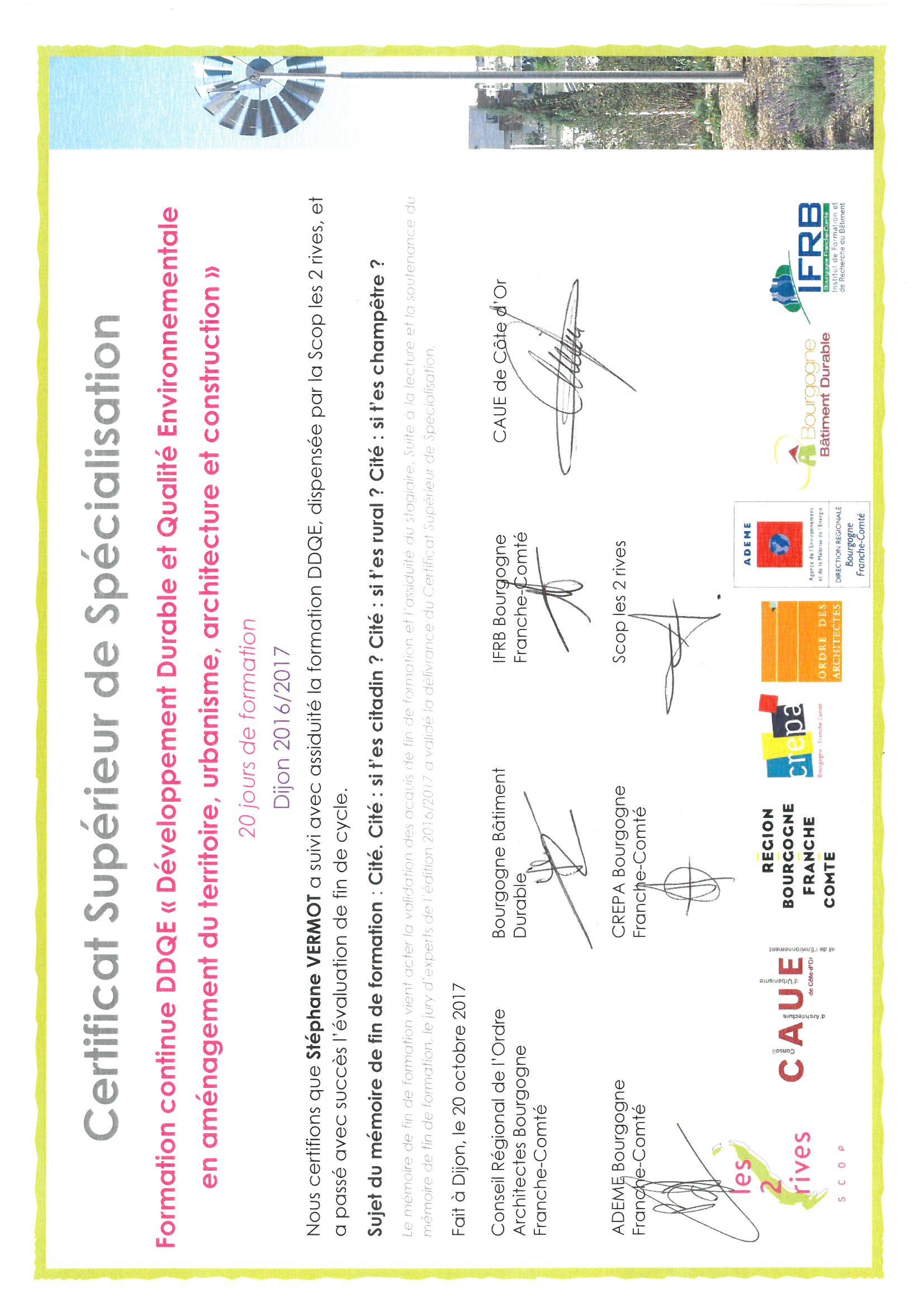 Certificat formation Développement durable